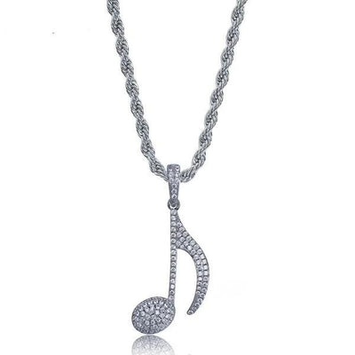 Crystal musical note pendant chain necklace-Joya Jewelry
