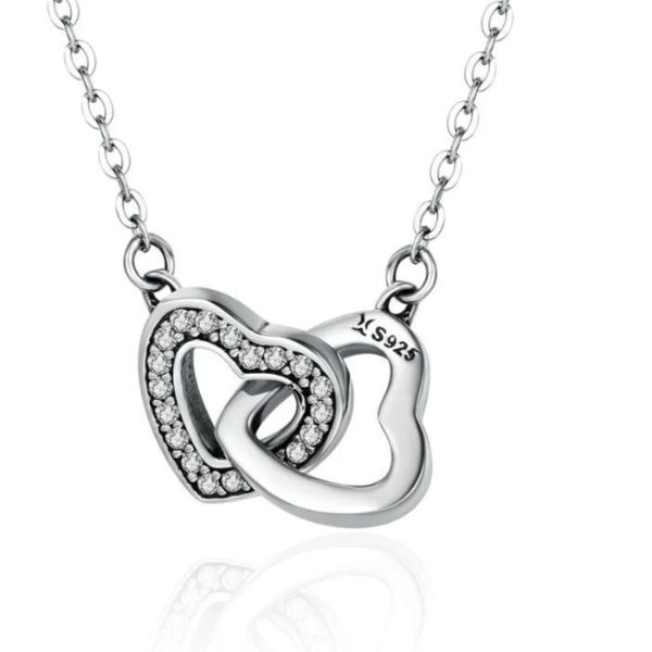 Connected heart couple pendant necklace