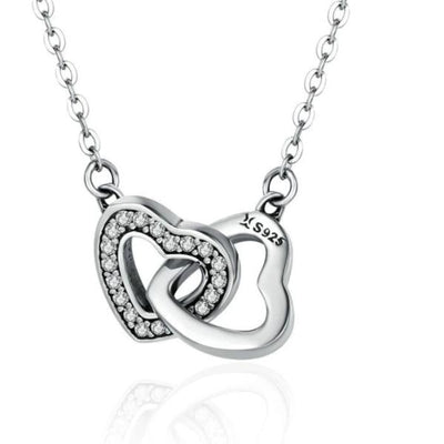 Connected heart couple pendant necklace-Joya Jewelry