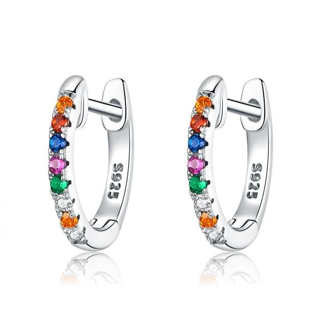 925 Sterling silver Circle hoop earrings-Joya Jewelry