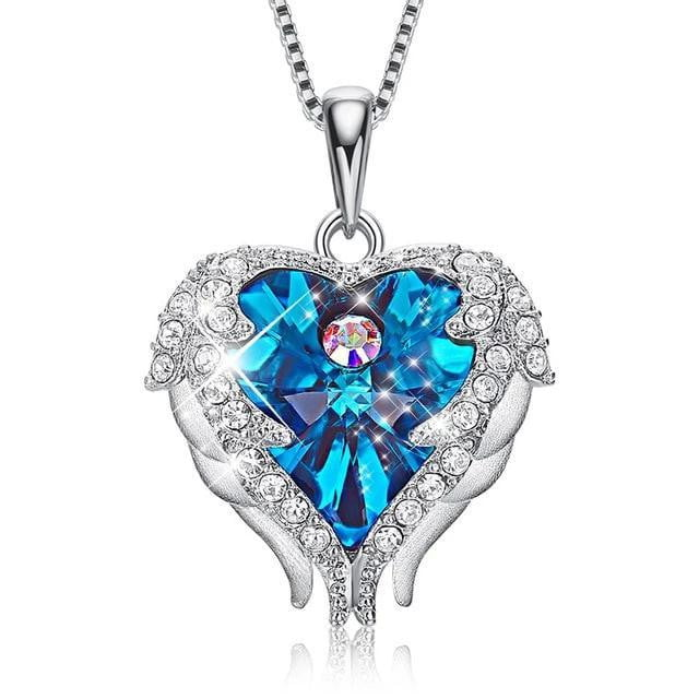 Angel Wings with heart Pendants Necklaces
