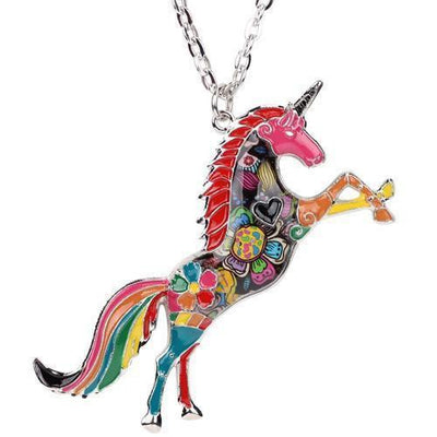 Silver colorful unicorn pendant necklace-Joya Jewelry