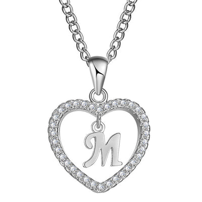 Letter M heart necklace-Joya Jewelry