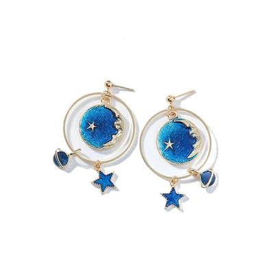 Blue Universe Asymmetric Earrings-Joya Jewelry