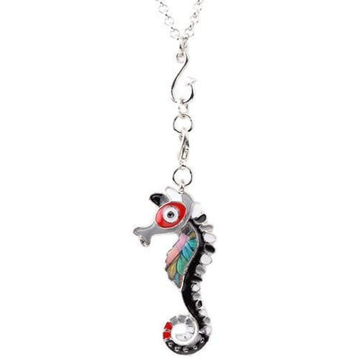 Silver colorful seahorse pendant necklace-Joya Jewelry