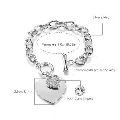 Love Heart Charm Bracelets-Joya Jewelry