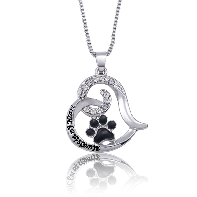 Pet dog claw love heart necklace