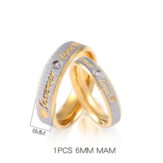 Custom Name Gold Forever Love Wedding Couple Rings