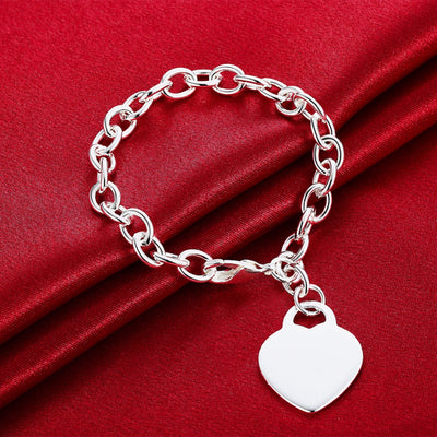 Set heart charm bracelet and necklace-Joya Jewelry