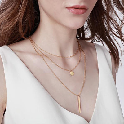 Layered bar necklace-Joya Jewelry