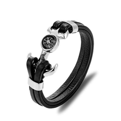 Leather skull bracelet-Joya Jewelry