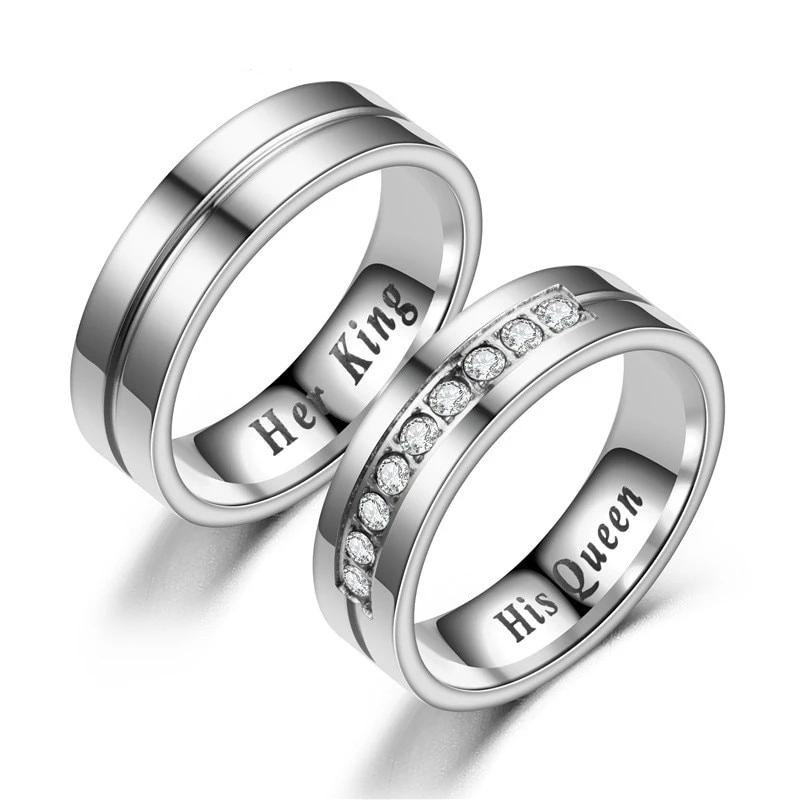 Titanium Romantic Couple Rings-Joya Jewelry