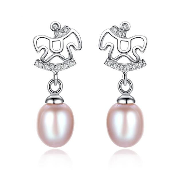 925 Sterling silver lovely horse stud earrings with natural pearls