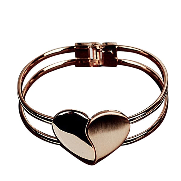 Elegant Heart Bangle Wristband Bracelet