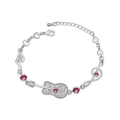 Music note and guitar charm bracelet with austrian crystals-Joya Jewelry