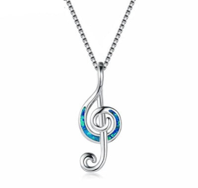 Blue/white fire opal music note pendant necklace-Joya Jewelry