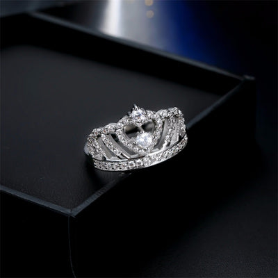 Crown Crystal Heart Ring-Joya Jewelry