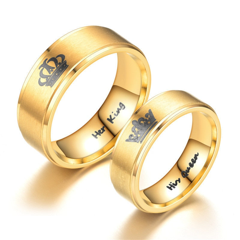 Gold King And Queen Crown Couple Rings