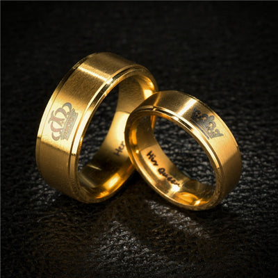 Gold King And Queen Crown Couple Rings-Joya Jewelry