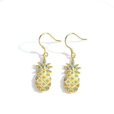 Golden pineapple earrings-Joya Jewelry