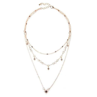 Layered rhinestone necklace-Joya Jewelry