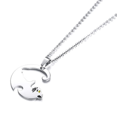 Couples cat necklaces-Joya Jewelry