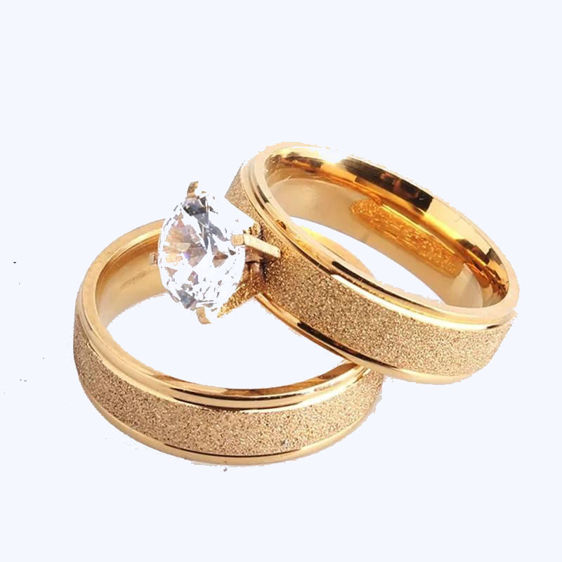 Gold Titanium Wedding Couple Rings-Joya Jewelry