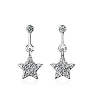Silver star dangle earrings with crystals-Joya Jewelry