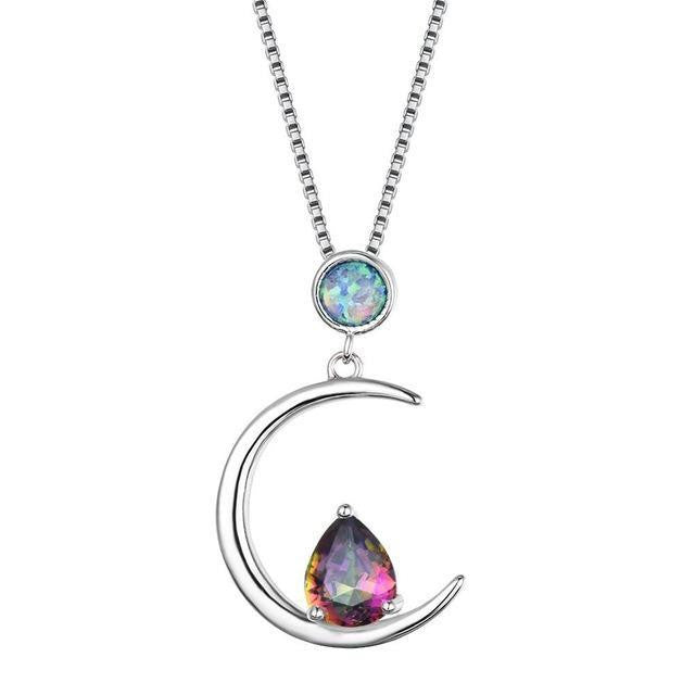 Silver crescent moon opal necklace