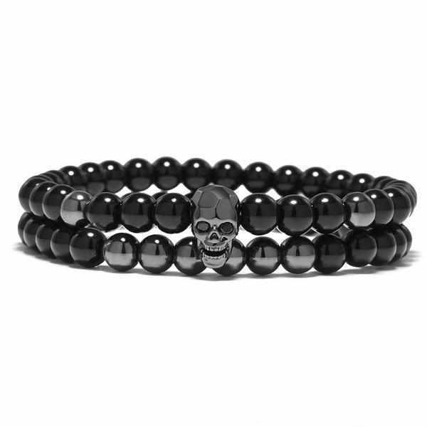 Set Elastic Metal Smile Skull Bracelet-Joya Jewelry