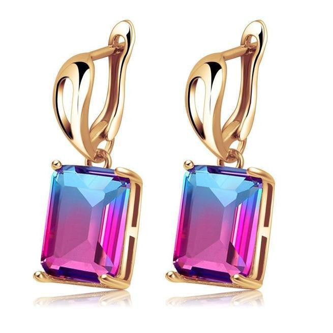 Square Cubic Zirconia Clip Earrings For Women Wedding Jewelry