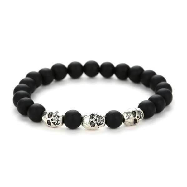 stone natural beads Skeleton skull bracelet-Joya Jewelry