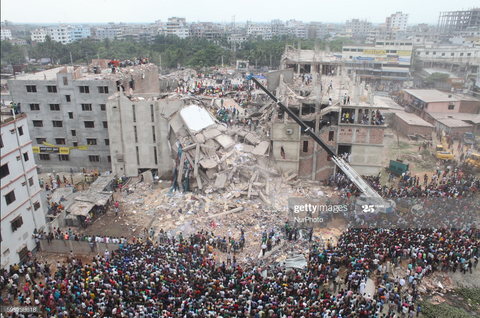 Getty Image photo of Rana Plaza Collapse in Dhaka, Bangladesh (2013)
