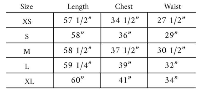 Clarence Size Guide