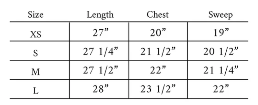 Kaia Shirt Size Guide