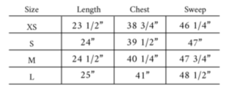 Mabel size guide