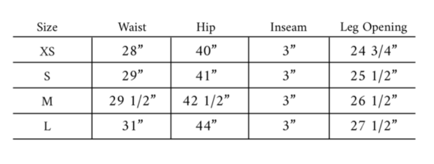 Paneros Short Size Guide