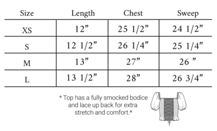 Smock Top size guide