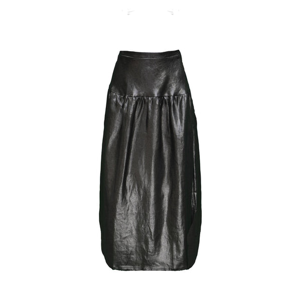 Eliza Skirt / Silver on Black Linen - ourCommonplace