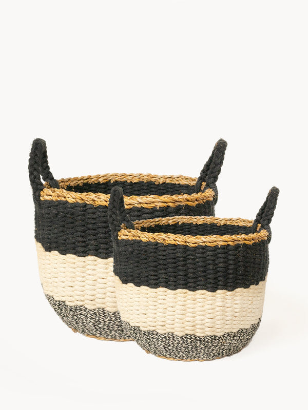 Ula Stripe Basket - Black KORISSA - ourCommonplace