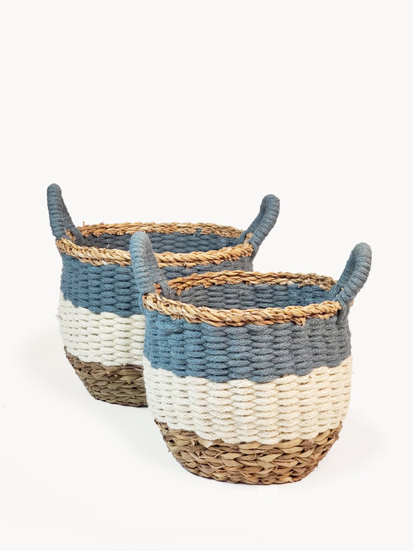 Ula Stripe Basket - Blue KORISSA - ourCommonplace