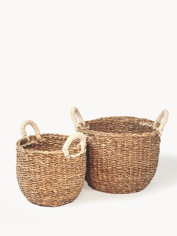 Savar Basket with White Handle KORISSA - ourCommonplace