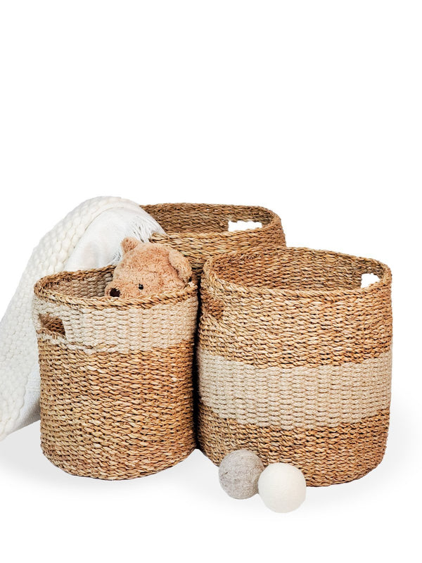 Savar Hamper Basket with Handle - Natural KORISSA - ourCommonplace