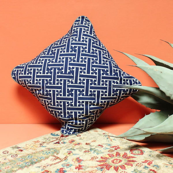 Indigo Hand-stamped Batik Weave Decorative Pillow Brunna Co - ourCommonplace
