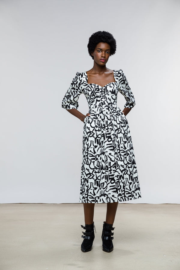 Suzan Dress / Milk + Black Brushstroke Cotton - ourCommonplace