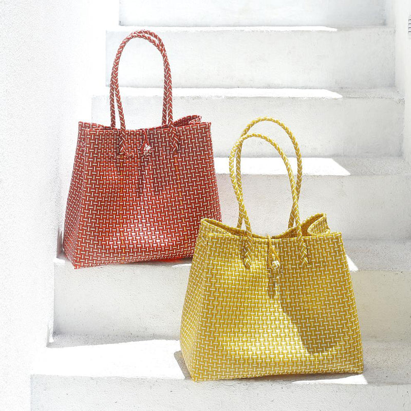 Toko Bazaar Woven Tote Bag - in Mustard Yellow & White Brunna Co - ourCommonplace