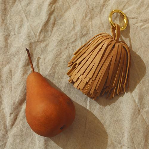 Upcycled Leather Pom Tassel Bag Charm - in Costa Tan Brunna Co - ourCommonplace