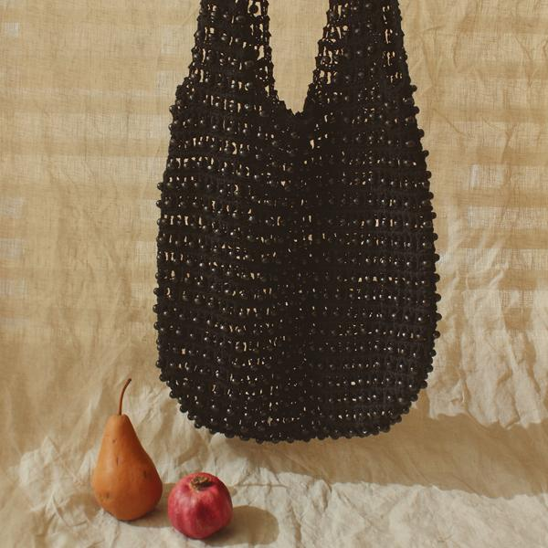 Karma Wooden Beads Crochet Bag in Black Brunna Co - ourCommonplace