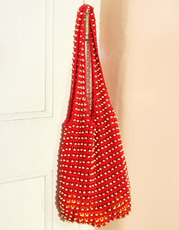 Karma Wooden Crochet Beads Bag in Red Brunna Co - ourCommonplace