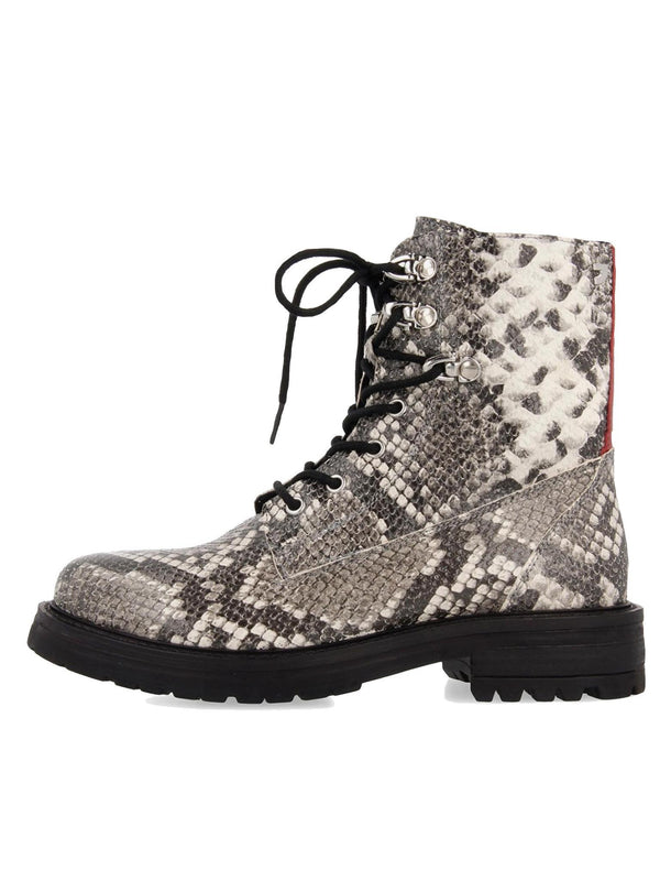 MONTANA snakeskin leather lace up lug boot *reclaimed collection*